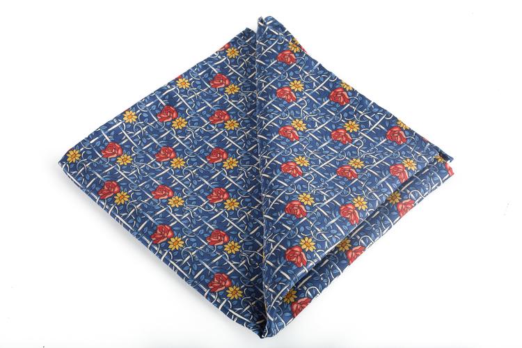 Silk Floral Vintage - Navy Blue/Light Blue/Red/Orange