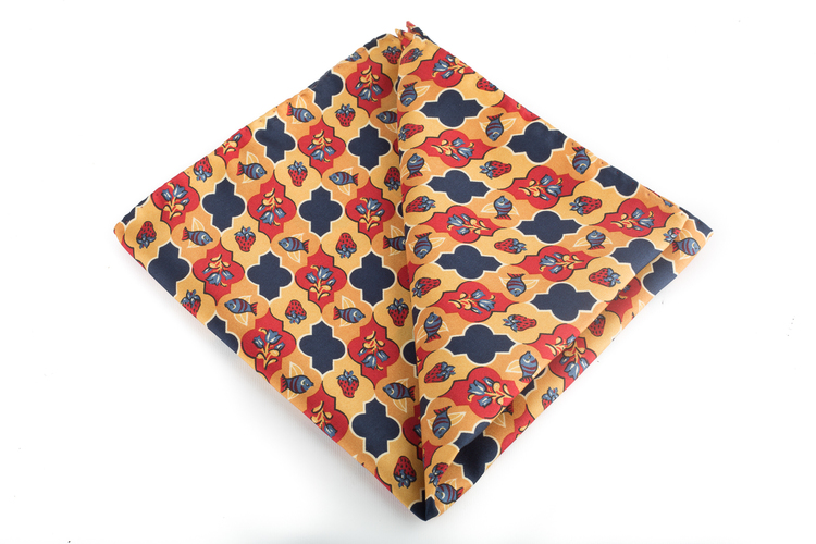 Silk Floral Vintage - Orange/Burgundy/Navy Blue