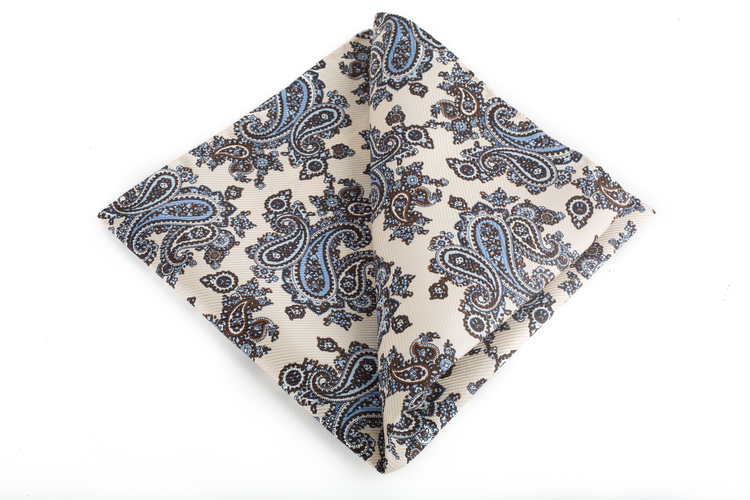 Silk Paisley Vintage - Off White/Brown/Light Blue