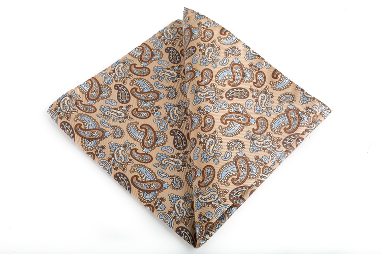 Silk Paisley Vintage - Beige/Brown/Light Blue