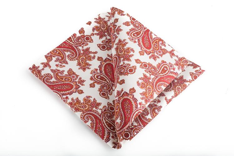 Silk Paisley Vintage - White/Orange/Red