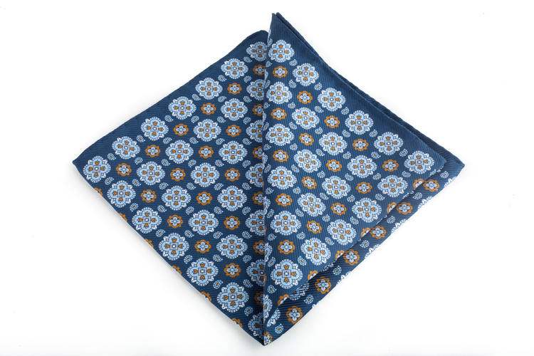 Silk Medallion - Navy Blue/Light Blue/Brown