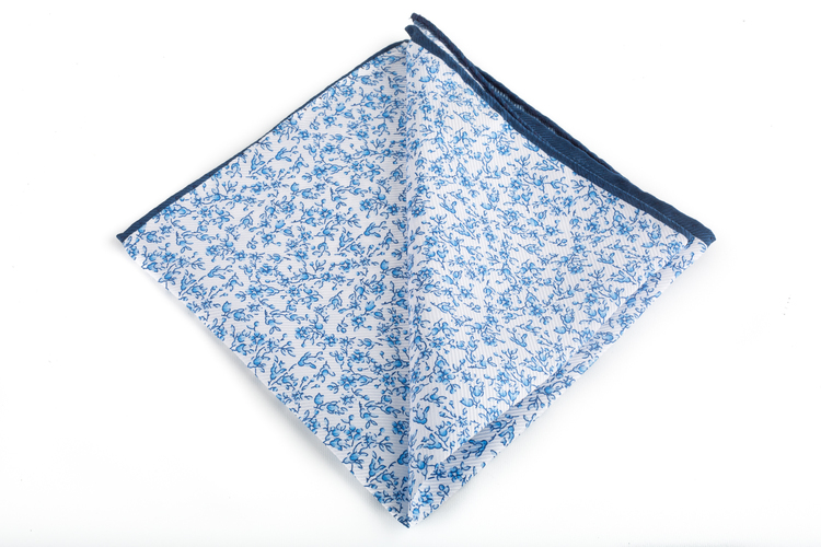 Silk Floral - Light Blue/White/Navy Blue