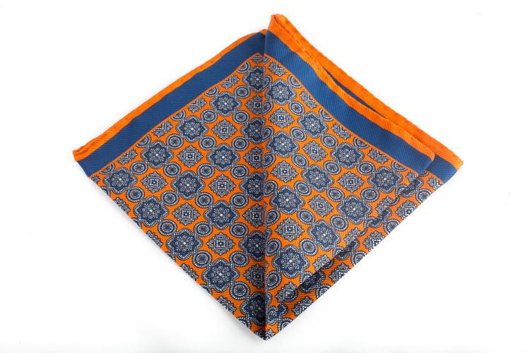 Silk Medallion - Orange/Navy Blue