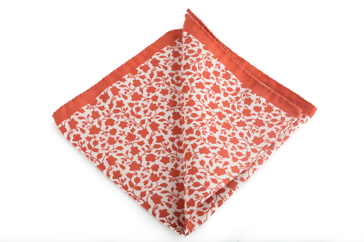 Silk Floral - Orange/White