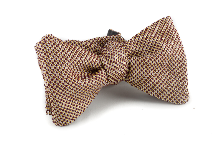 Self tie Grenadine Solid - Beige/Burgundy