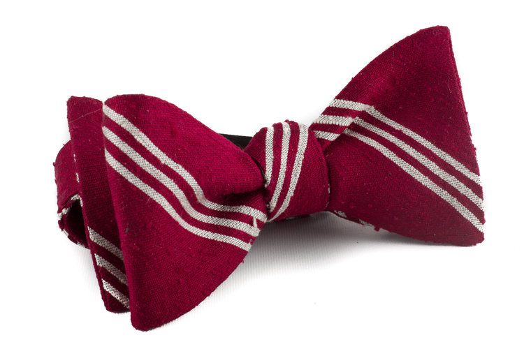 Self tie Shantung Regimental - Red/White