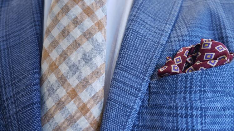 Plaid Wool Untipped Tie - Creme/Grey/Orange