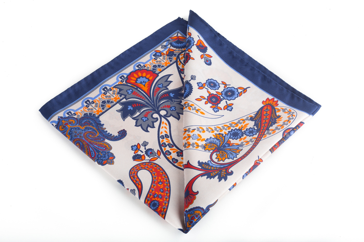 Silk Paisley - Beige/Navy Blue/Orange (45x45)