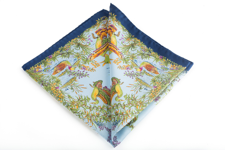 Silk Goose - Light Blue/Navy Blue/Green (45x45)