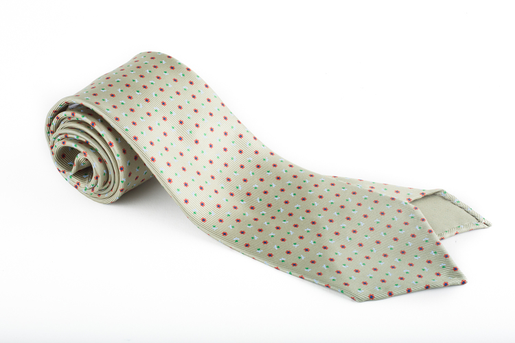 Floral Printed Silk Tie - Untipped - Green/Red/Blue