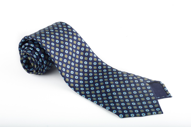 Floral Printed Silk Tie - Untipped - Navy Blue/Light Blue/Brown