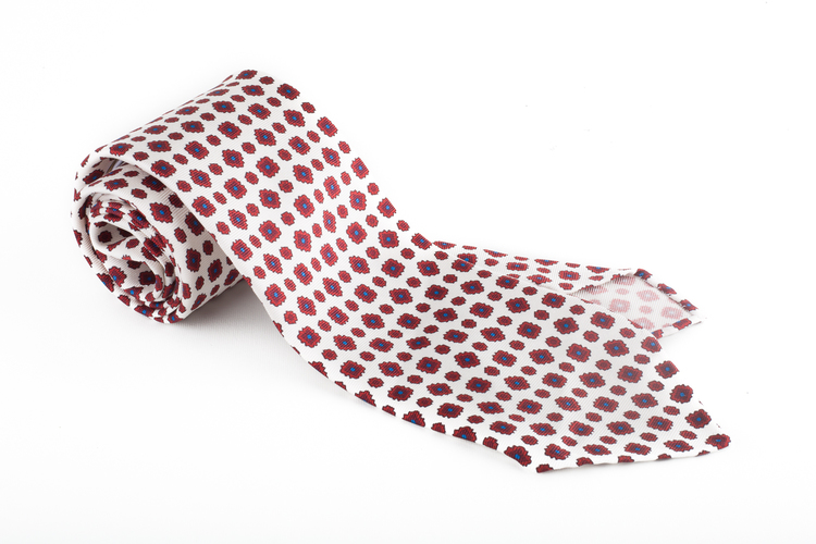 Medallion Printed Silk Tie - Untipped - White/Burgundy/Blue