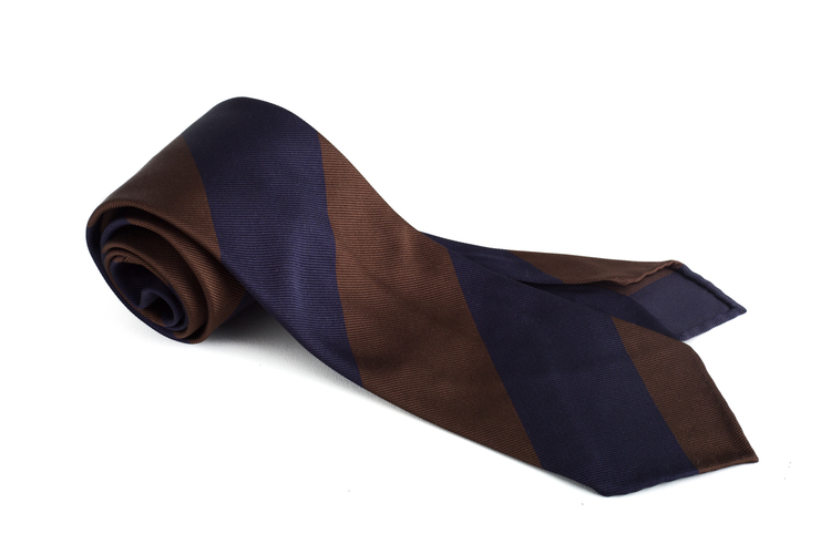 Silk Regimental Blockstripe Untipped - Navy Blue/Brown
