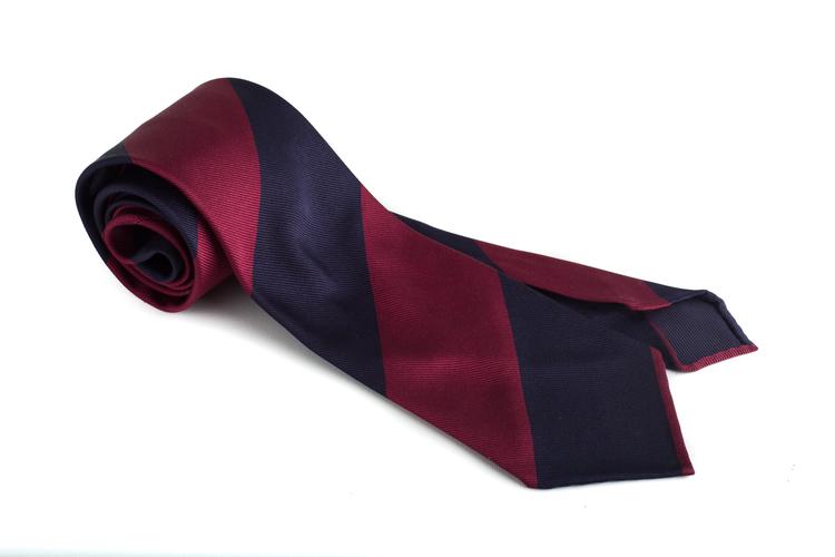 Silk Regimental Blockstripe Untipped - Navy Blue/Burgundy