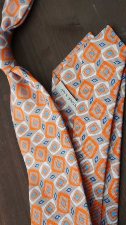 Printed Diamond - Orange/White/Light Blue