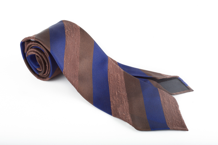 Untipped Shantung Regimental - Brown/Beige/Navy Blue