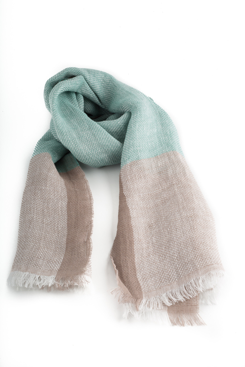 Scarf - Beige/Turquoise
