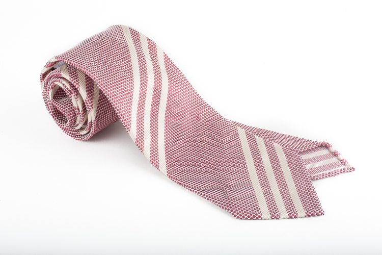 Regimental Silk Grenadine Tie - Untipped - Cerise/White