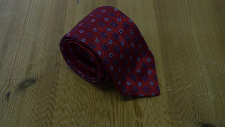 Silk Floral - Red/Navy Blue/Light Blue