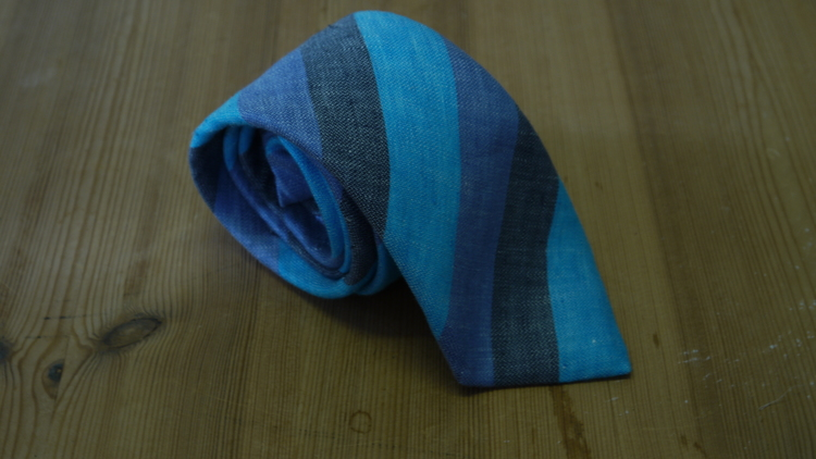 Linen Regimental - Turquoise/Navy Blue/Dark Grey