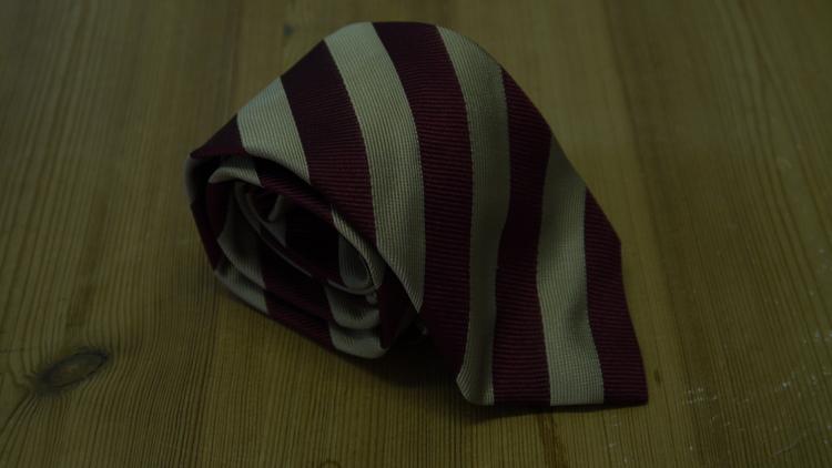 Silk Regimental - Burgundy/Beige
