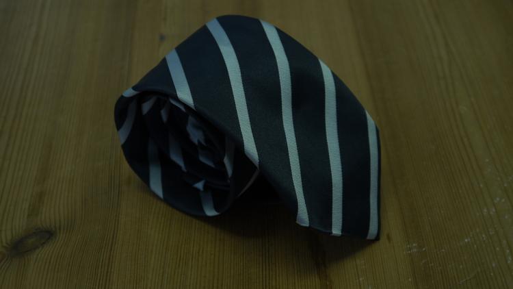 Silk Mogador Regimental - Dark Grey/White