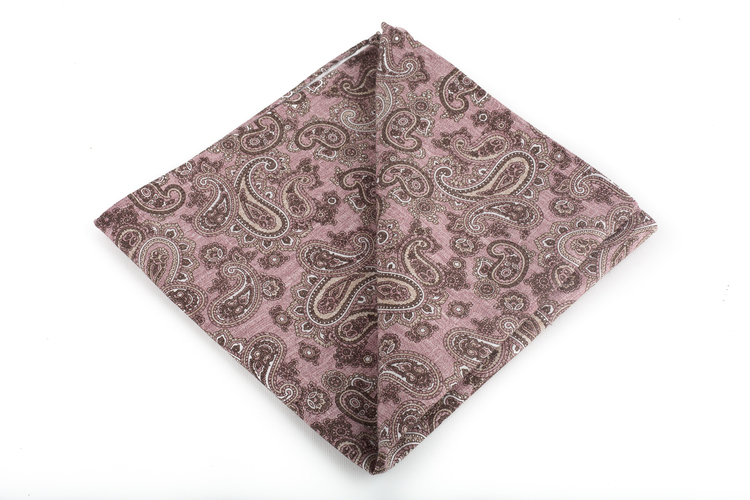 Silk/Cotton Paisley - Pink/Brown