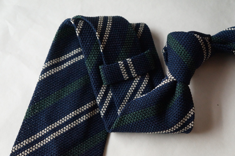 Regimental Jacquard Grenadine Tie - Untipped - Navy Blue/Green/White