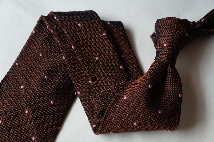 Polka Dot Silk Grenadine Tie - Untipped - Bronze/Pink