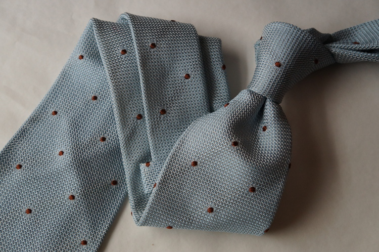 Polka Dot Silk Grenadine Tie - Untipped - Light Blue/Brown