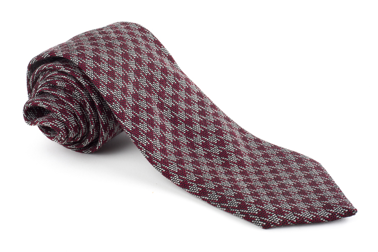 Wool Dogtooth - Burgundy/Grey
