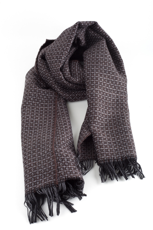 Small Check Wool Scarf - Brown