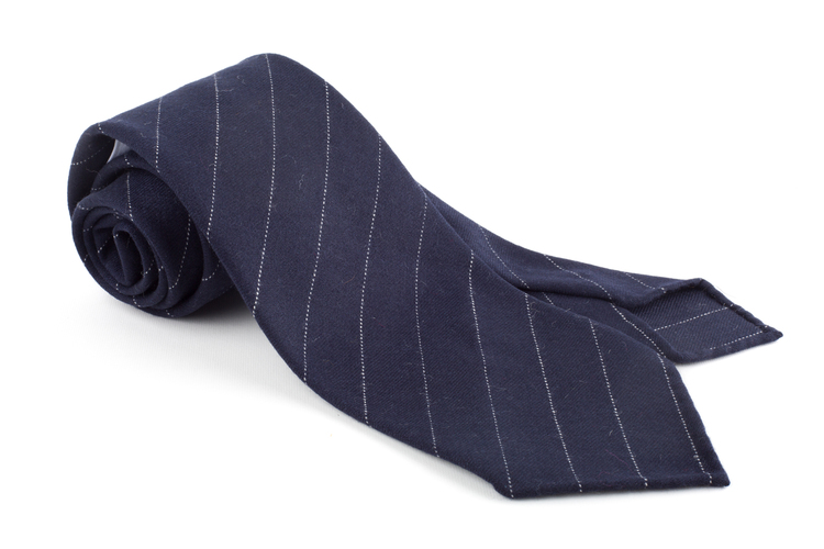 Regimental Wool Untipped Tie - Navy Blue/White