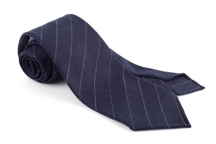 Wool Untipped Regimental - Navy Blue/White