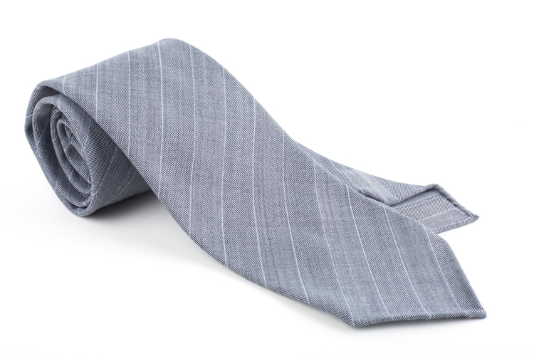 Wool Untipped Regimental - Light Grey/White