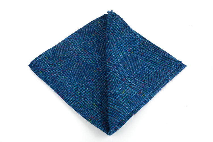 Wool Donegal Plaid - Mid Blue
