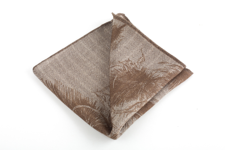 Piuma/Stripe Wool Pocket Square - Double - Beige/Brown