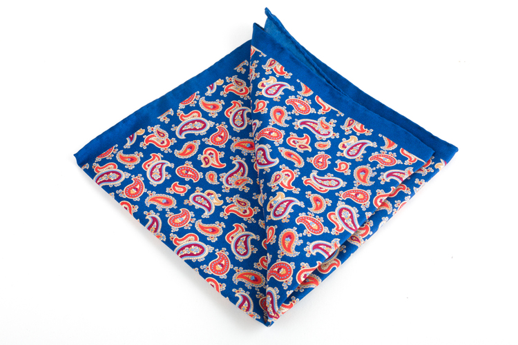 Silk Paisley - Mid Blue/Orange/Burgundy/Light Blue