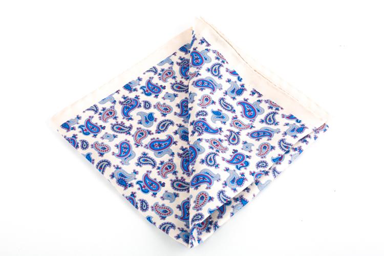 Silk Paisley - White/Light Blue/Navy Blue