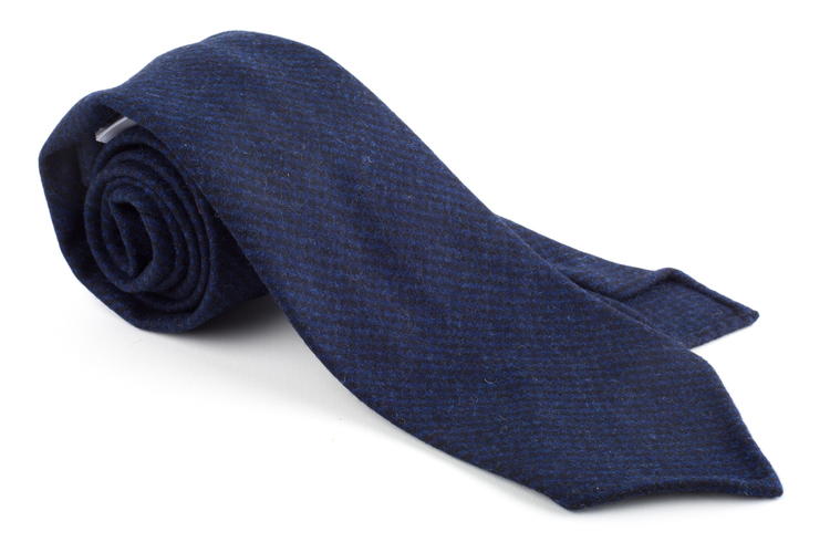 Houndstooth Wool Untipped Tie - Navy Blue/Mid Blue