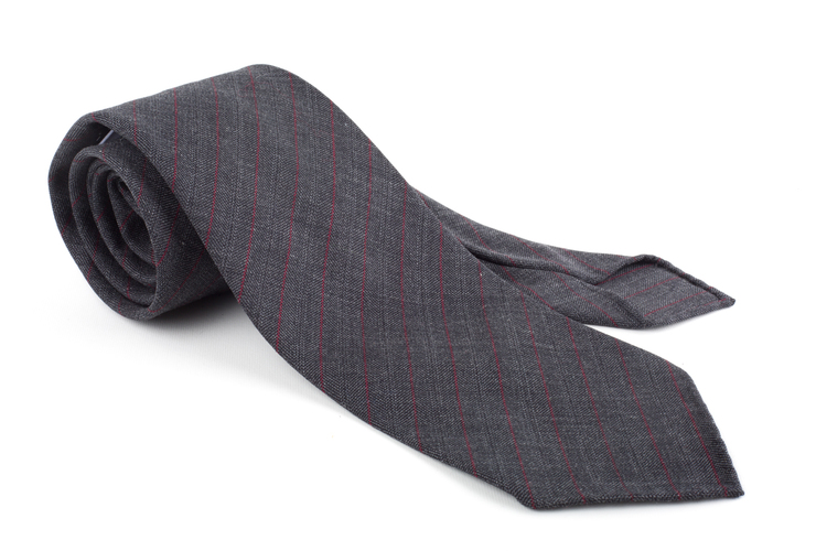 Regimental Light Wool Untipped Tie - Dark Grey/Burgundy