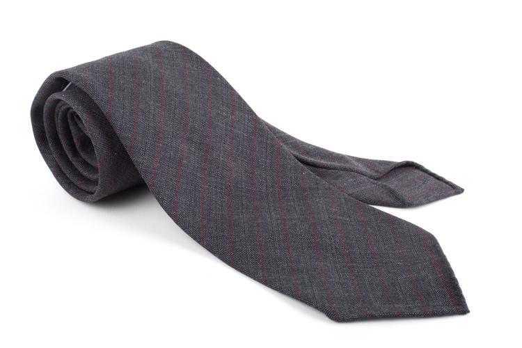 Wool Untipped Regimental - Dark Grey/Burgundy