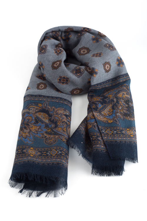 Medallion Printed Wool Scarf - Grey/Navy Blue