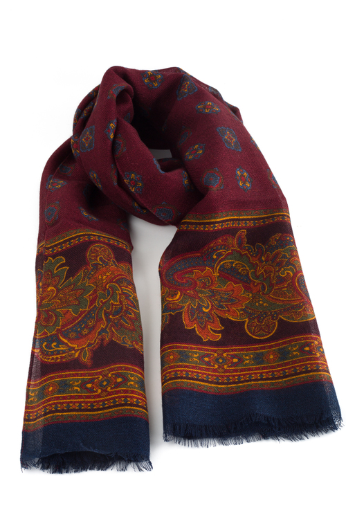 Medallion Printed Wool Scarf - Burgundy/Navy Blue