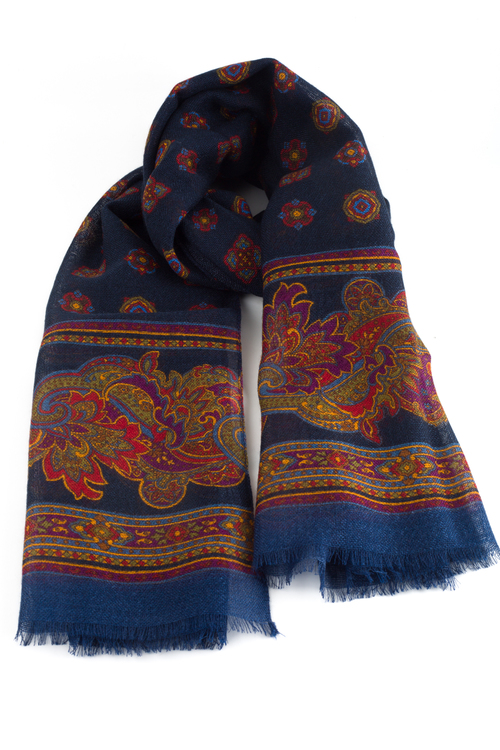 Medallion Printed Wool Scarf - Navy Blue/Burgundy/Orange