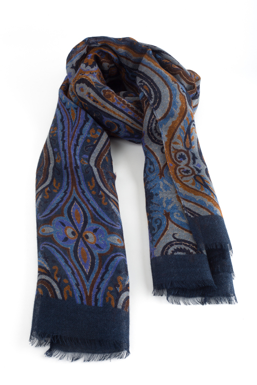 Aiuola Printed Wool Scarf - Navy Blue/Grey/Light Blue