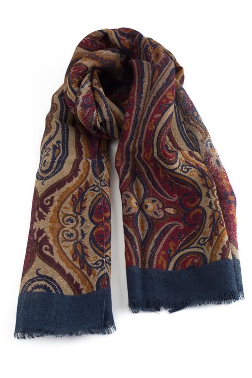 Wool Printed Aiuola - Beige/Burgundy/Navy Blue/Mustard