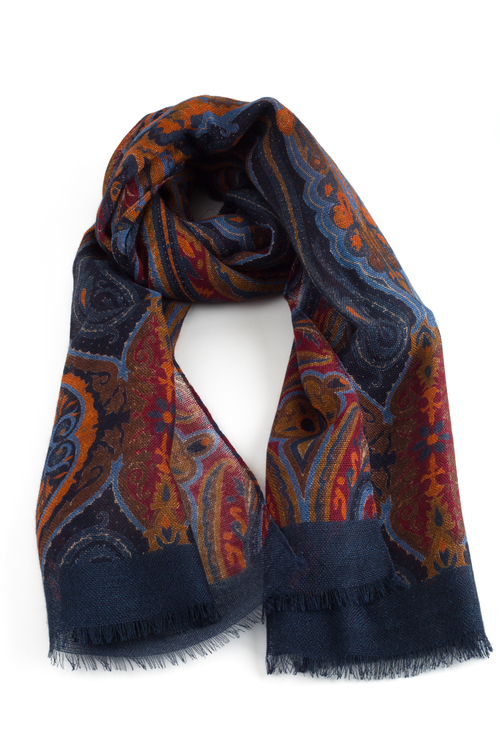 Wool Printed Aiuola - Navy Blue/Burgundy/Brown/Light Blue/Rust