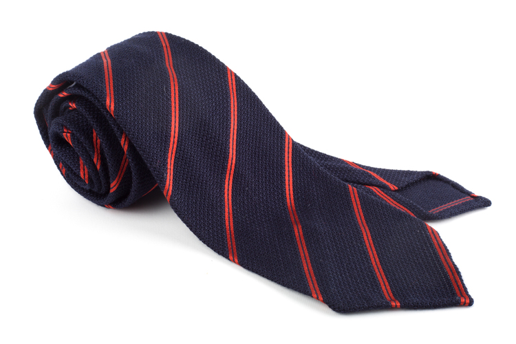 Regimental Wool Shantung Grenadine Tie - Untipped - Navy Blue/Orange